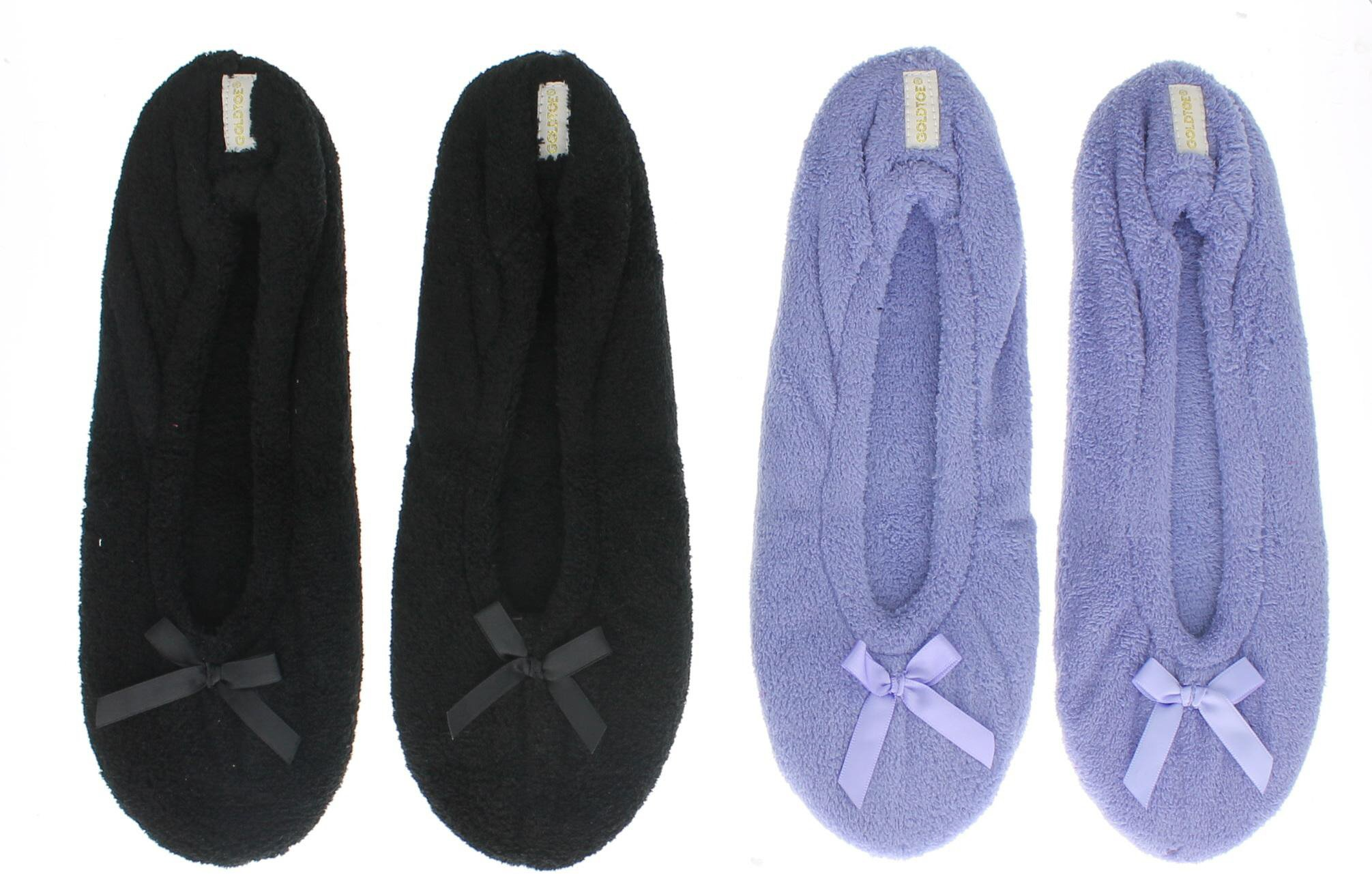 Gold Toe Women's Cora 2 Pairs Microterry Ballerina House Slippers, Casual Non-Slip Elastic Stretch Scuffs Black/Periwinkle XL 10-11