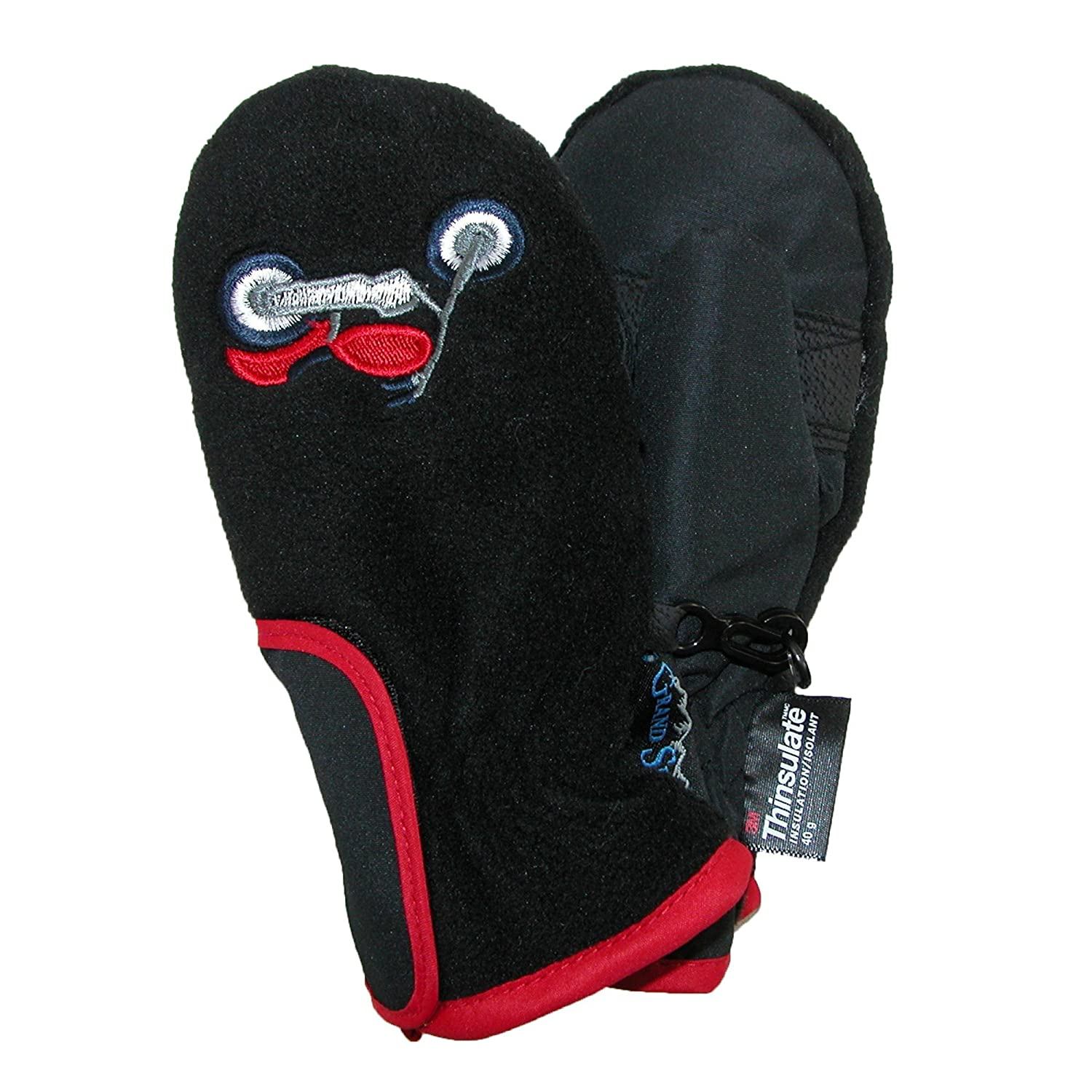 Grand Sierra Toddlers 2-4 Embroidered Waterproof Mittens, Black with Motorcycles