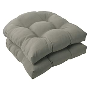 Pillow Perfect Outdoor Forsyth Wicker Seat Cushion, Taupe, Set of 2