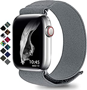 Compatible with Apple Watch Band 38mm 42mm 40mm 44mm Braided Solo Loop for Apple Watch Series 3 6 5 4 2 1 (Gray M 42mm/44mm)