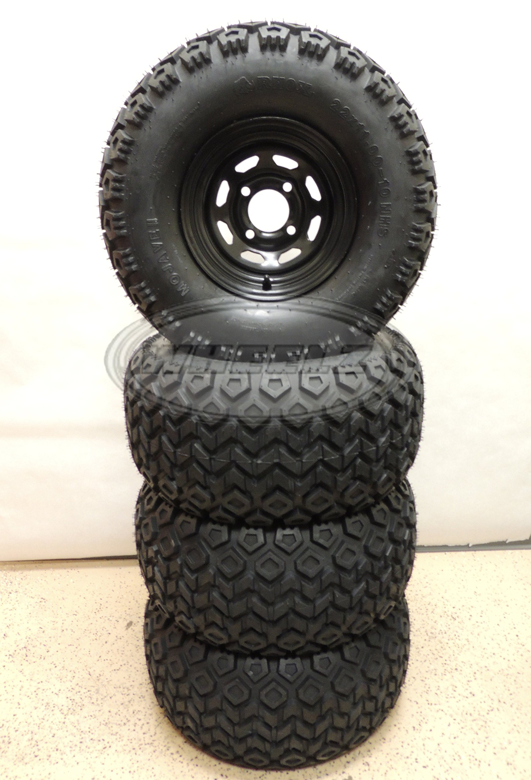 Set of (4) 22x11-10 RHOX Mojave Golf Cart Tires Mounted on Black 10x7 Steel Wheels w/ Centercaps & Lugnuts