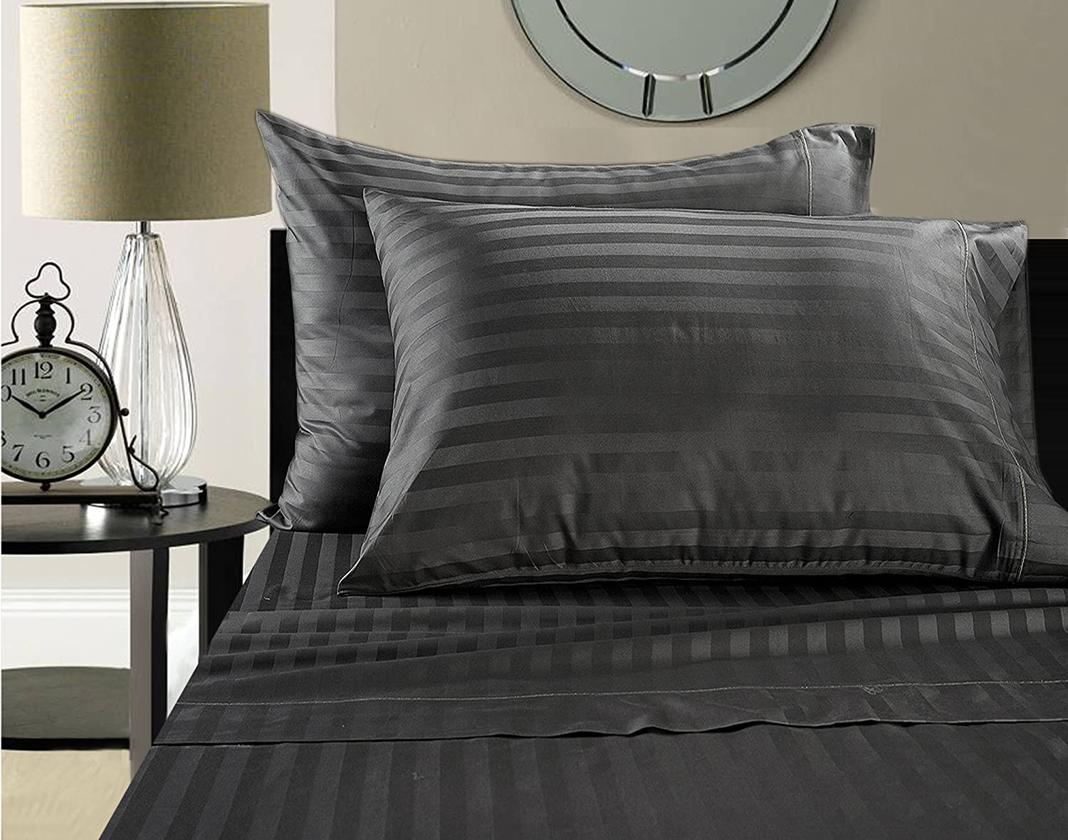 Addy Home Fashions Egyptian Cotton 500 Thread Count Damask Stripe Sheet Set, Queen - Charcoal