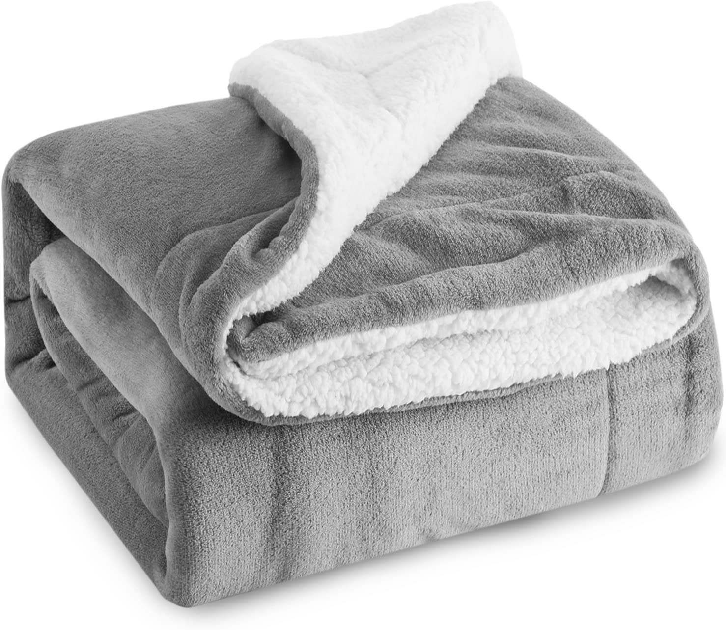 BEDSURE Sherpa Fleece Blanket Throw Size Grey Plush Throw Blanket Fuzzy Soft Blanket Microfiber