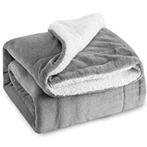 Bedsure Sherpa Bed Blanket Grey Queen size 90x90 Bedding Fleece Reversible Blanket for Bed and Couch