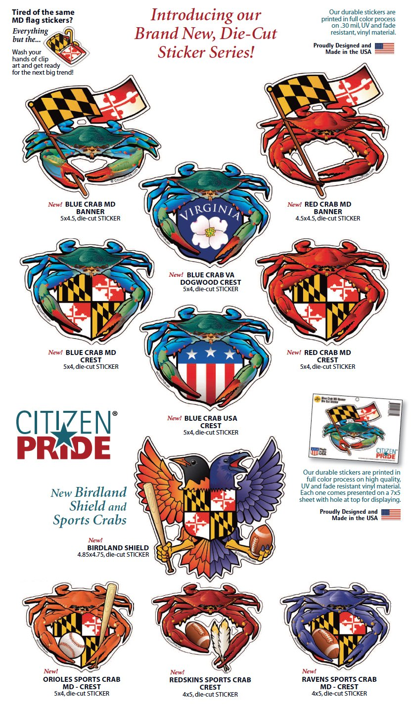 Amazon com citizen pride birdland baltimore raven and oriole maryland crest 4 85x4 75 inches sticker decal die cut vinyl made in usa sports outdoors