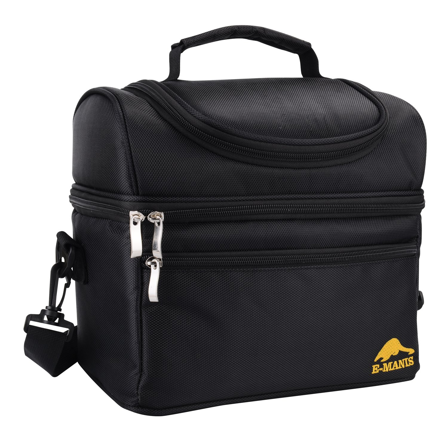 Lunch Bag Insulated Lunch Box Cooler 2 Way Zip Closure with Double Deck Large for Men Women Kids Black