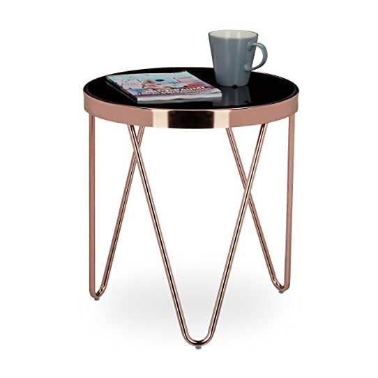 relaxdays table dappoint ronde en cuivre hxlxp 46 x 42 x 42 cm - Table D Appoint Ronde