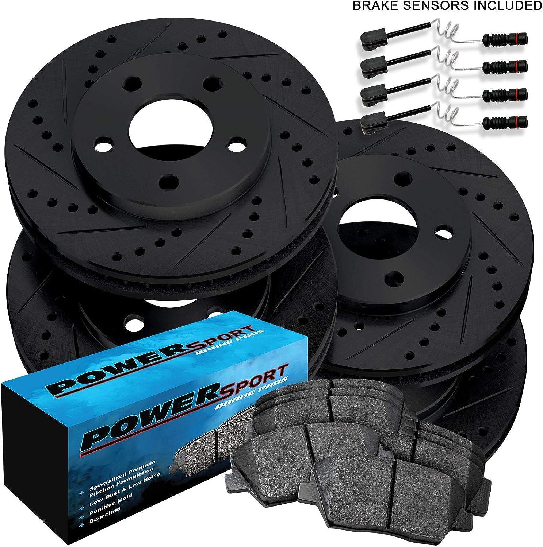 Full Kit eLine Drilled Slotted Brake Rotors /& Ceramic Brake Pads CEC.63217.02