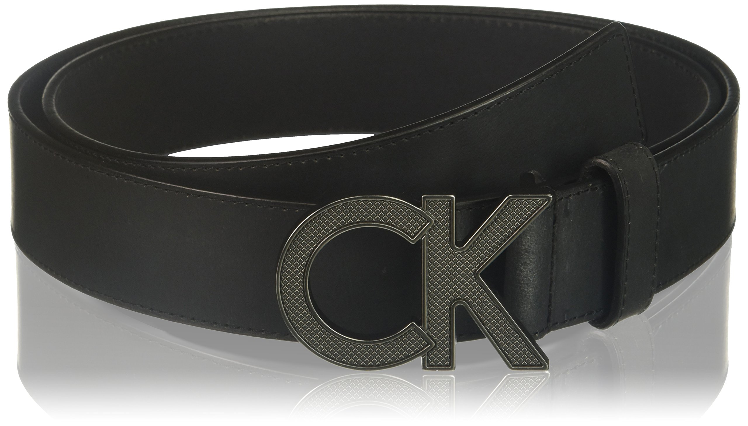 Calvin Klein Men's Logo Buckle Belt, black, 32