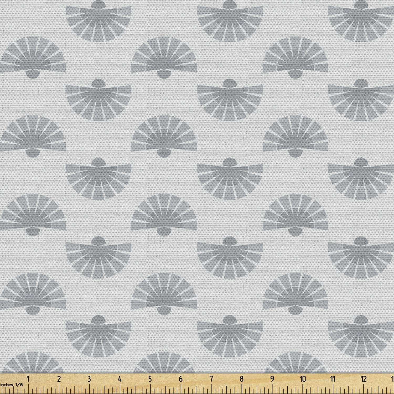 Ambesonne Geometric Fabric by The Yard, Japanese Traditional Fan Pattern in Pale Colored Image Ornamental Abstract Art, Decorative Fabric for Upholstery and Home Accents, 2 Yards, Beige Grey