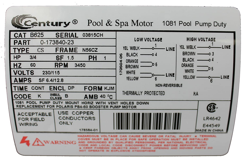 pool motor, 3 4 hp, 3450 rpm, 230 115vac  century electric motors wiring diagram b625 #11