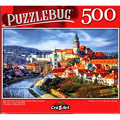 Red Tile Roofs and Towers of The Cesky Crumlov Old Town, Czech Republic - 500 Pieces Jigsaw Puzzle: Toys & Games
