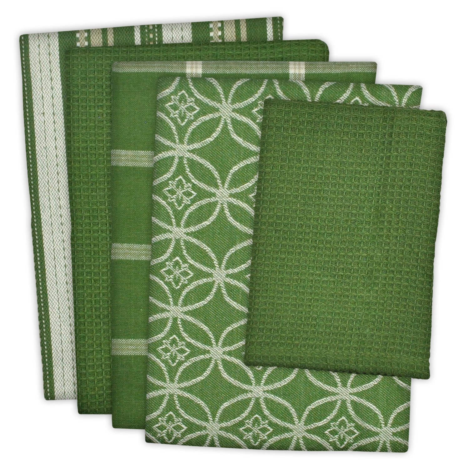 DII Cotton Oversized Kitchen Dish Towels 18 x 28'' and Dishcloth 13 x 13'', Set of 5 , Absorbent Washing Drying Dishtowels for Everyday Cooking and Baking-Sage