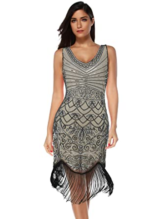 f740611daab Women s Flapper Vintage Dresses 1920s Beaded Fringed Great Gatsby Dress ( Beige Silver