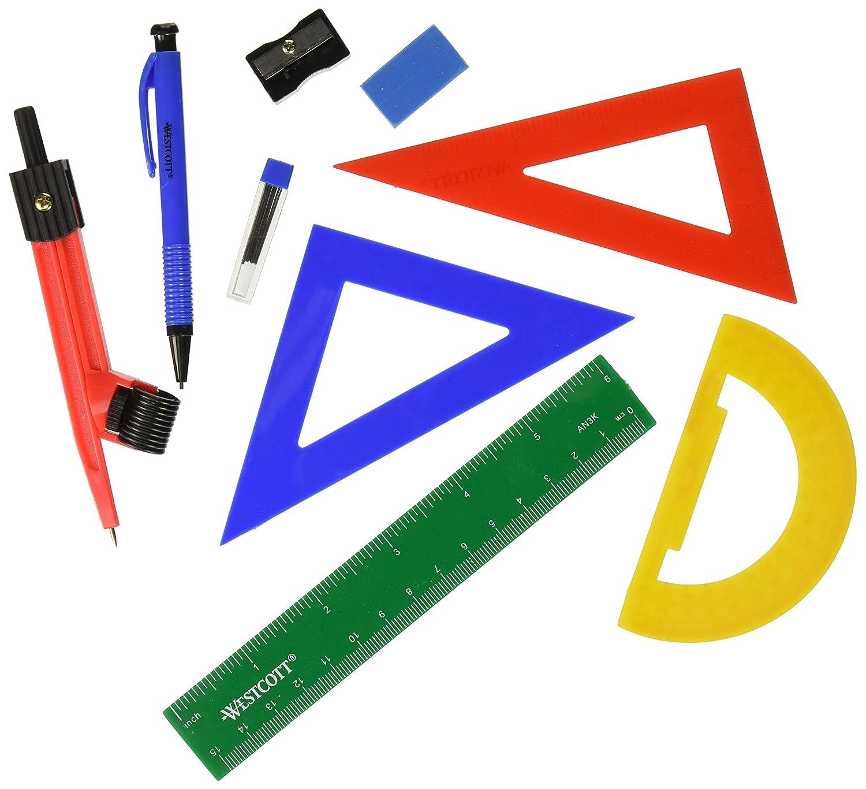 Westcott Ten Piece Math Tool Kit Assorted Colors