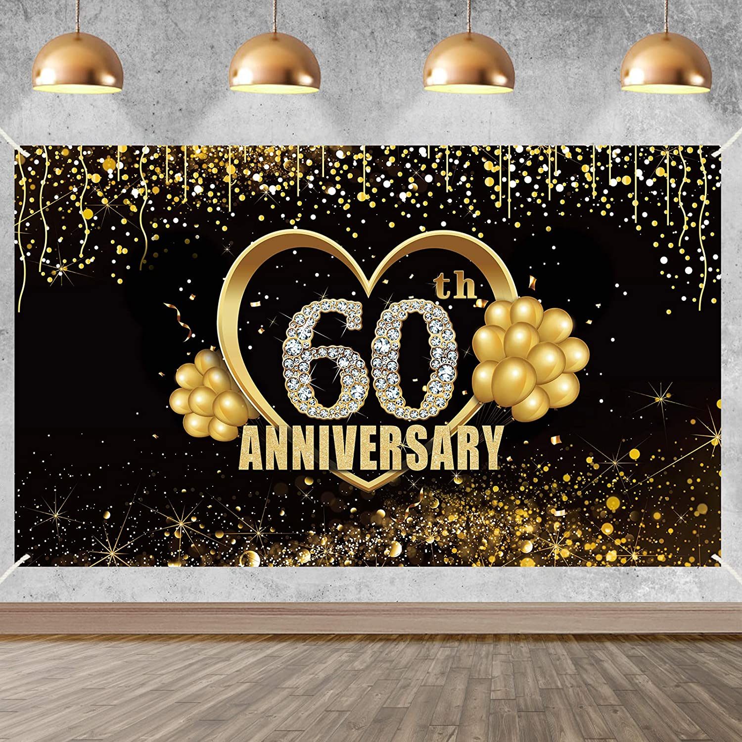 Yoaokiy 60th Wedding Anniversary Decorations for Party, Extra Large 60 Year Anniversary Party Backdrop Supplies, Extra Large Happy 60 Anniversary Decor Photo Props(6 X 3.6ft)