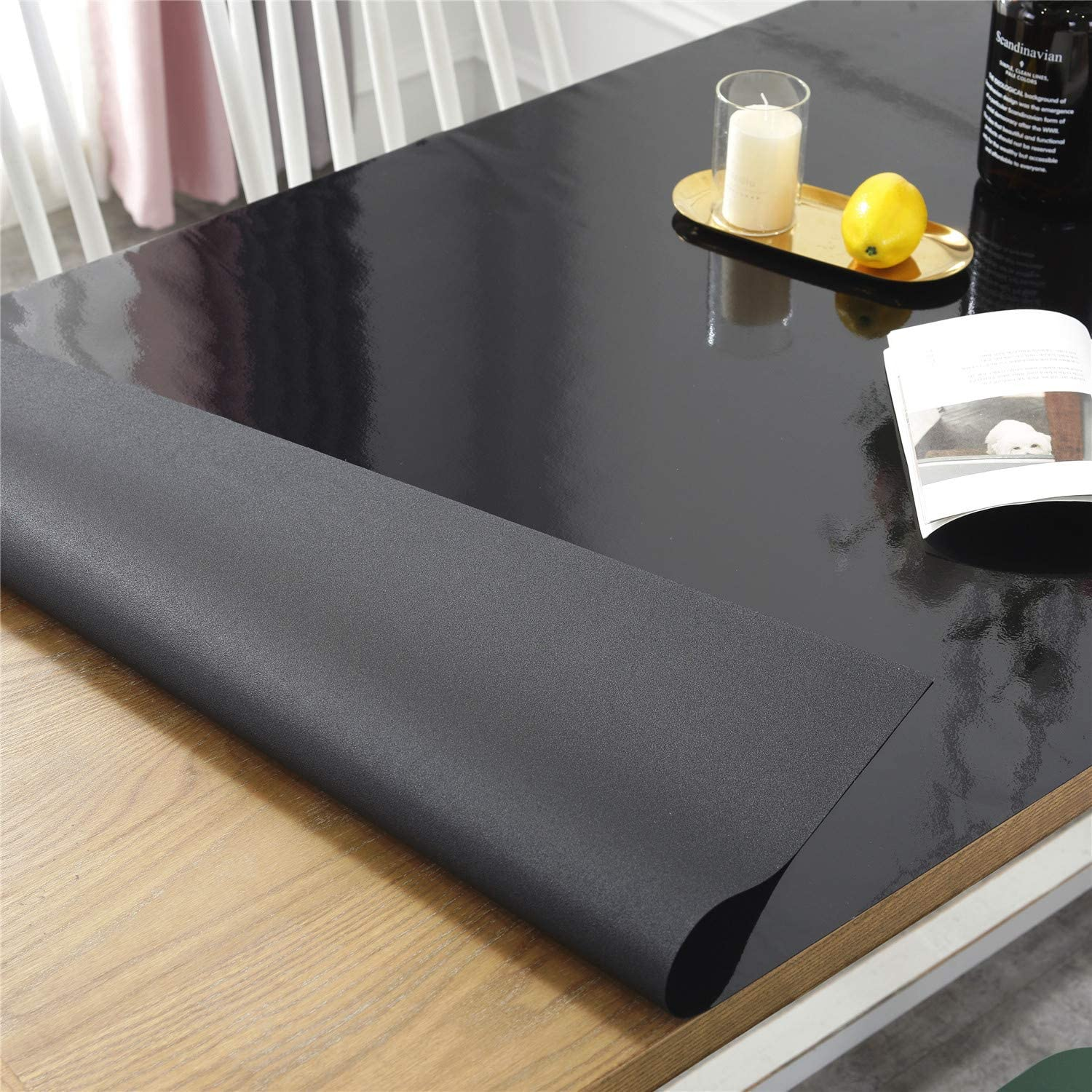Writing Desk OstepDecor Custom Brown Table Cover for 4 Foot Table 48 x 20 Inch Water Resistant Plastic Table Protector Rectangular Vinyl Non-Slip Desk Pad for Coffee Table