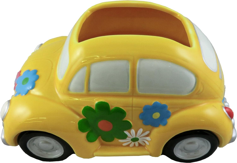 "Napco Love Bug Car Planter, 8""L x 5.5""W x 4.5""H - vase opening 3.25"" x 2.25"""