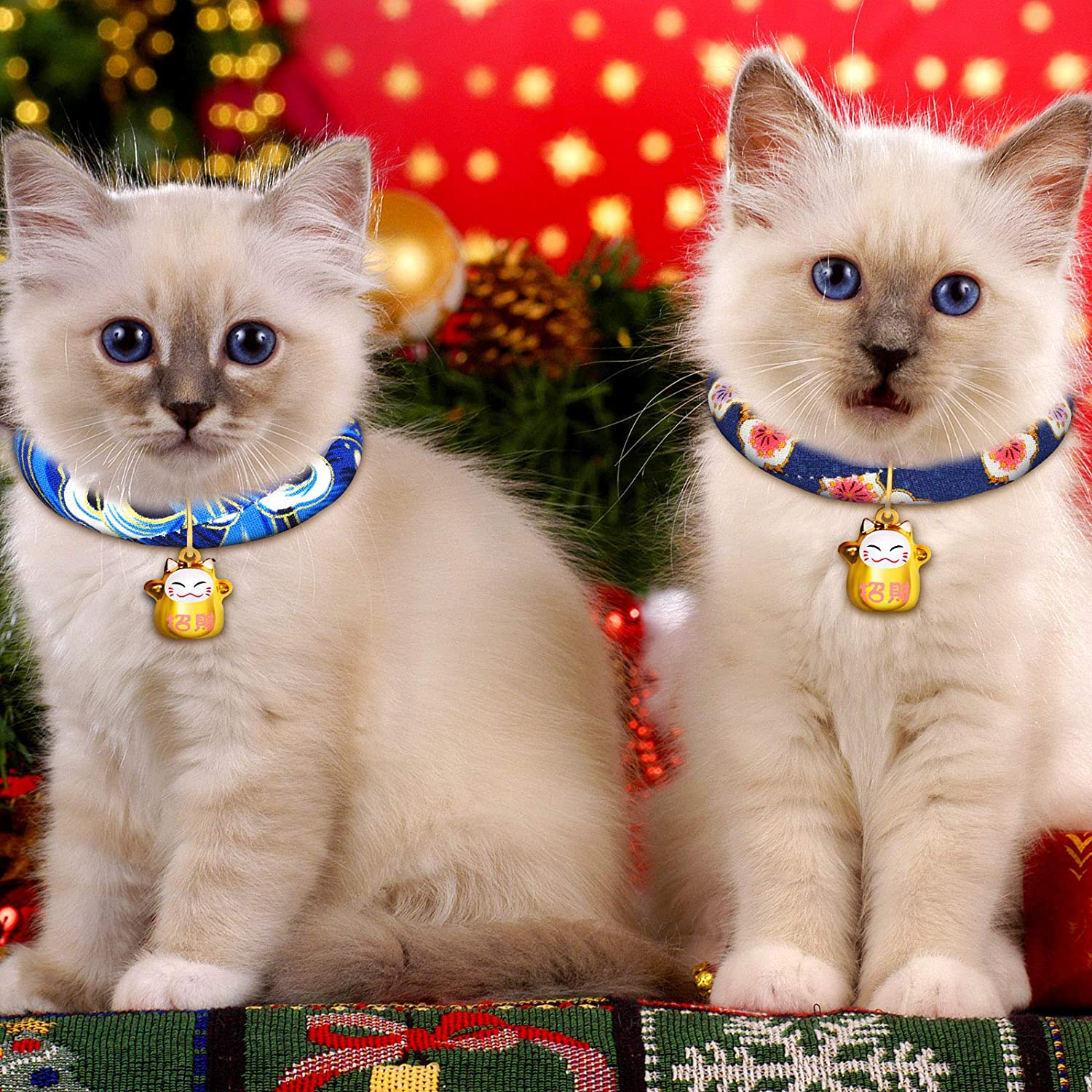 6 Pieces Japanese Chirimen Kitten Collar with Bell Japanese Kimono Cat Collar Japanese Style Adjustable Cat Collar with Fortune for Kitten Puppy Pet at Christmas Halloween New Year