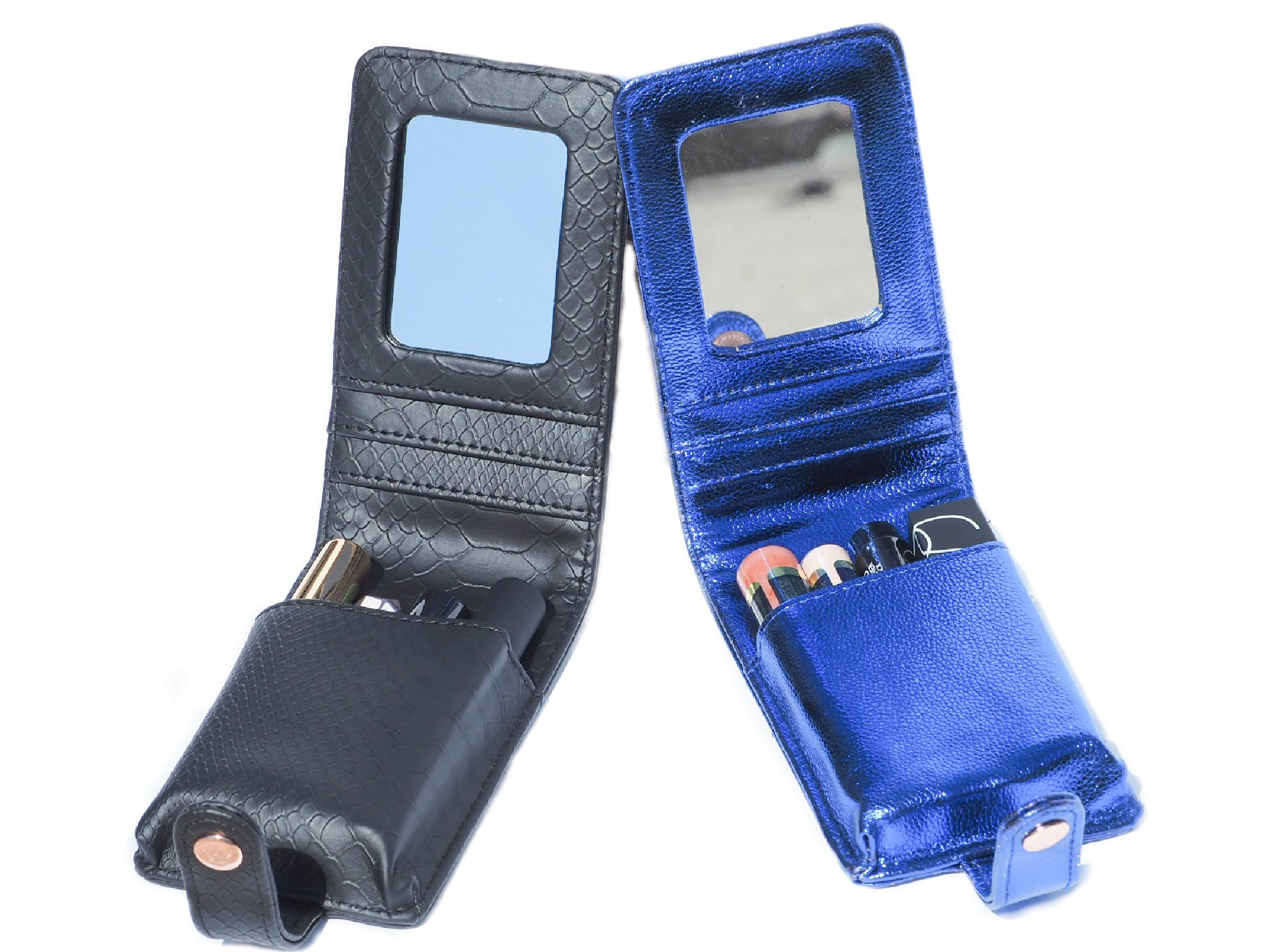 L.A.M.B.S Black Snake Print/ Blue LipSense Case/Wallet