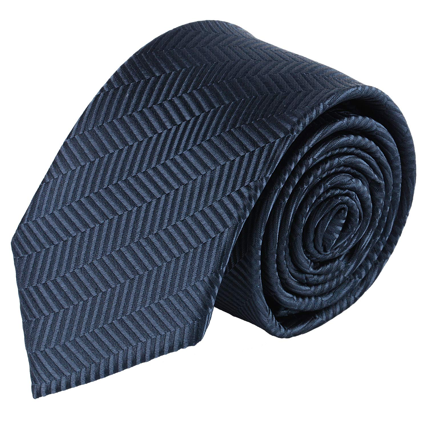 Jacob Alexander Boys Tone on Tone Herringbone Neck Tie - Navy