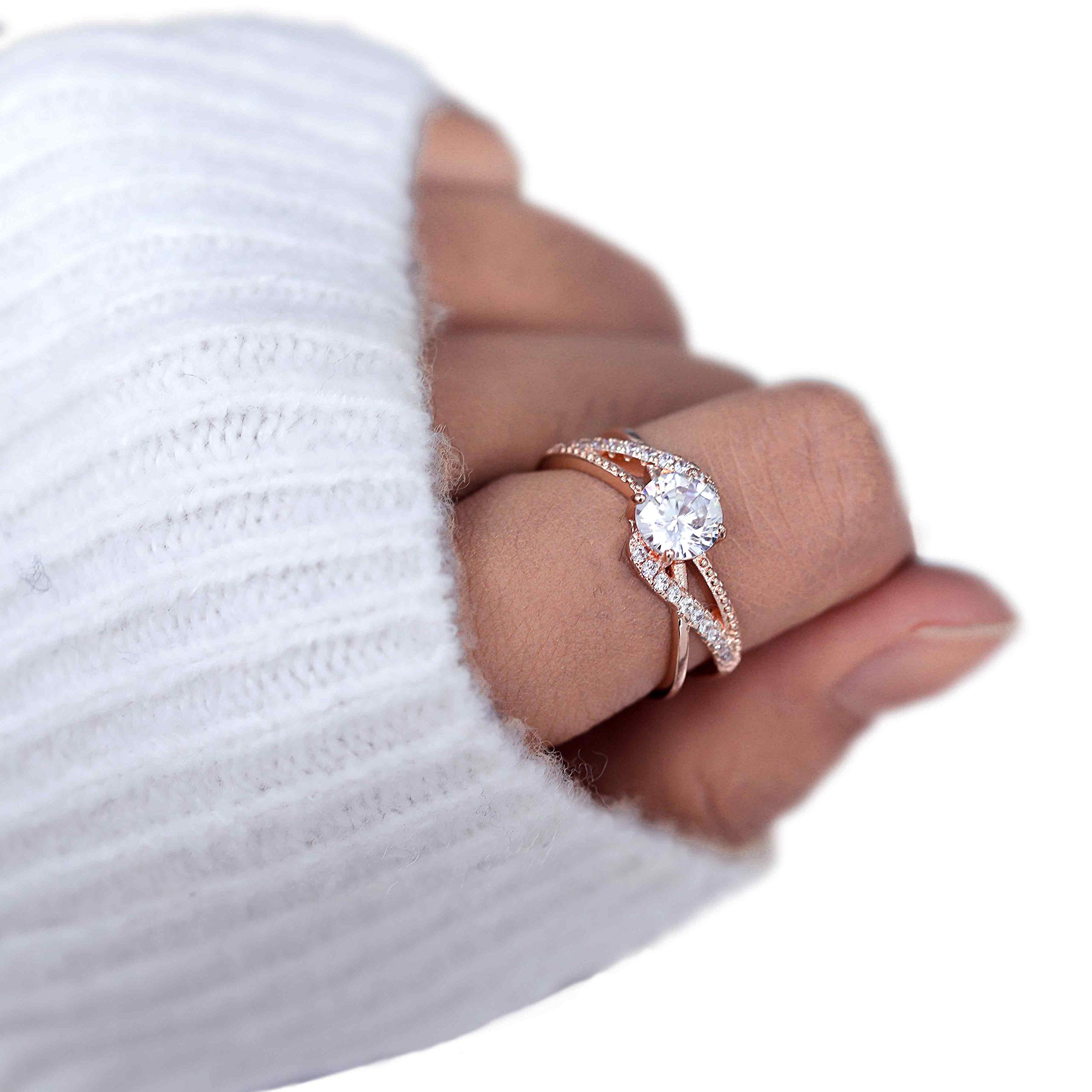 37438d68760a44 Amazon.com: Barogirl Promise Ring Rose Gold Engagement Wedding Bands for  Women Cubic Zirconia (8): Beauty