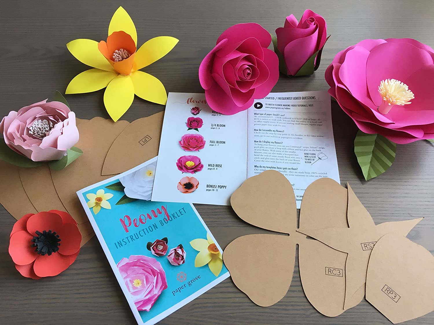 Paper Flower Template 2 18 Peony Leaf Templates And Instruction
