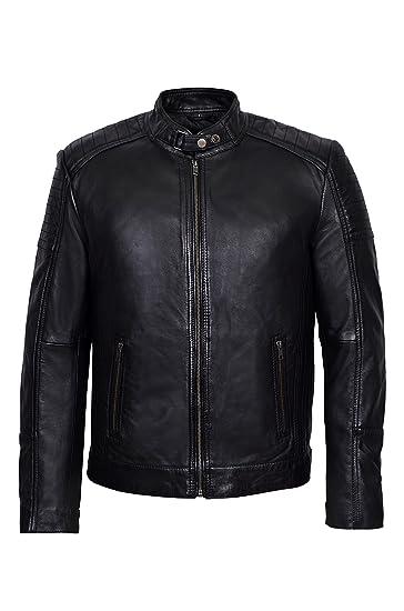 9d3b6c3b4 Men's Black Cool Retro Biker Style Soft Padded Sheep Napa Leather ...
