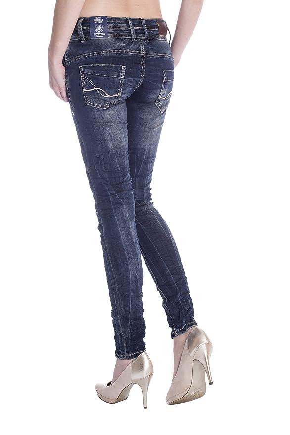 e612e0dc2ca0 Blue Monkey Damen Skinny Jeans mit offener Knopfleiste Anny-1306 31 ...