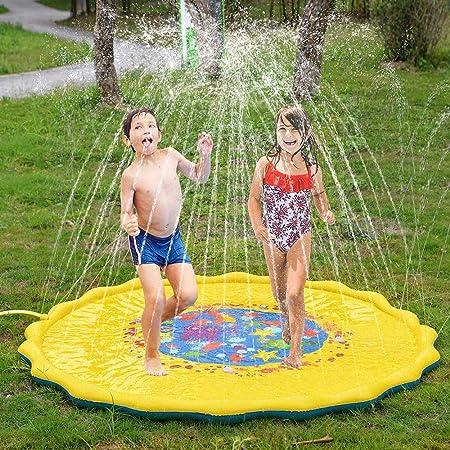 TYYM Esterilla para Juegos Spinkle and Splash 170 cm, Juguetes De Agua para Jardín Spray De Verano Juguetes Al Aire Libre para Niños Pequeños 68 Inch: Amazon.es: Hogar