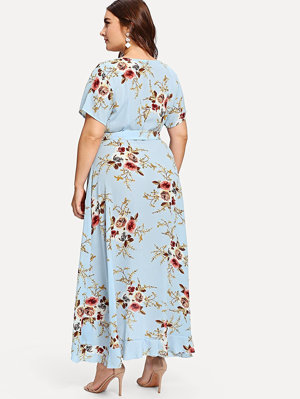 Milumia Plus Size Short Sleeves Wrap V Neck Belted Empire Waist Asymmetrical High Low Bohemian Party Maxi Dress Blue 3XL