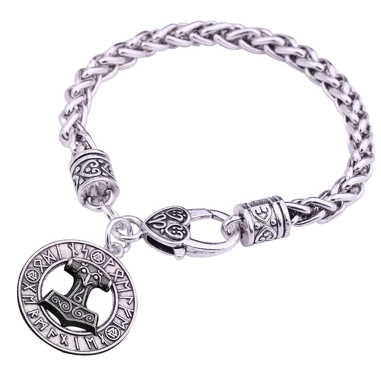 Charm ciondolo a forma di martello di Thor Hammer Mjolnir Viking amuleto scandinavo bracciali Norse gioielli Qiju