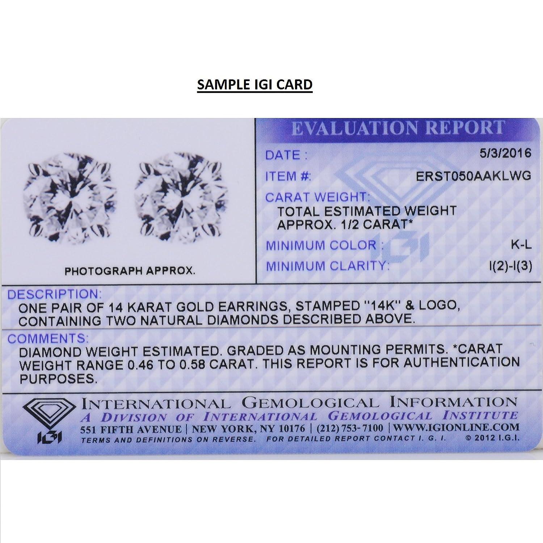 Amazon IGI Certified 1 2ct tw Round Diamond Stud Earrings set