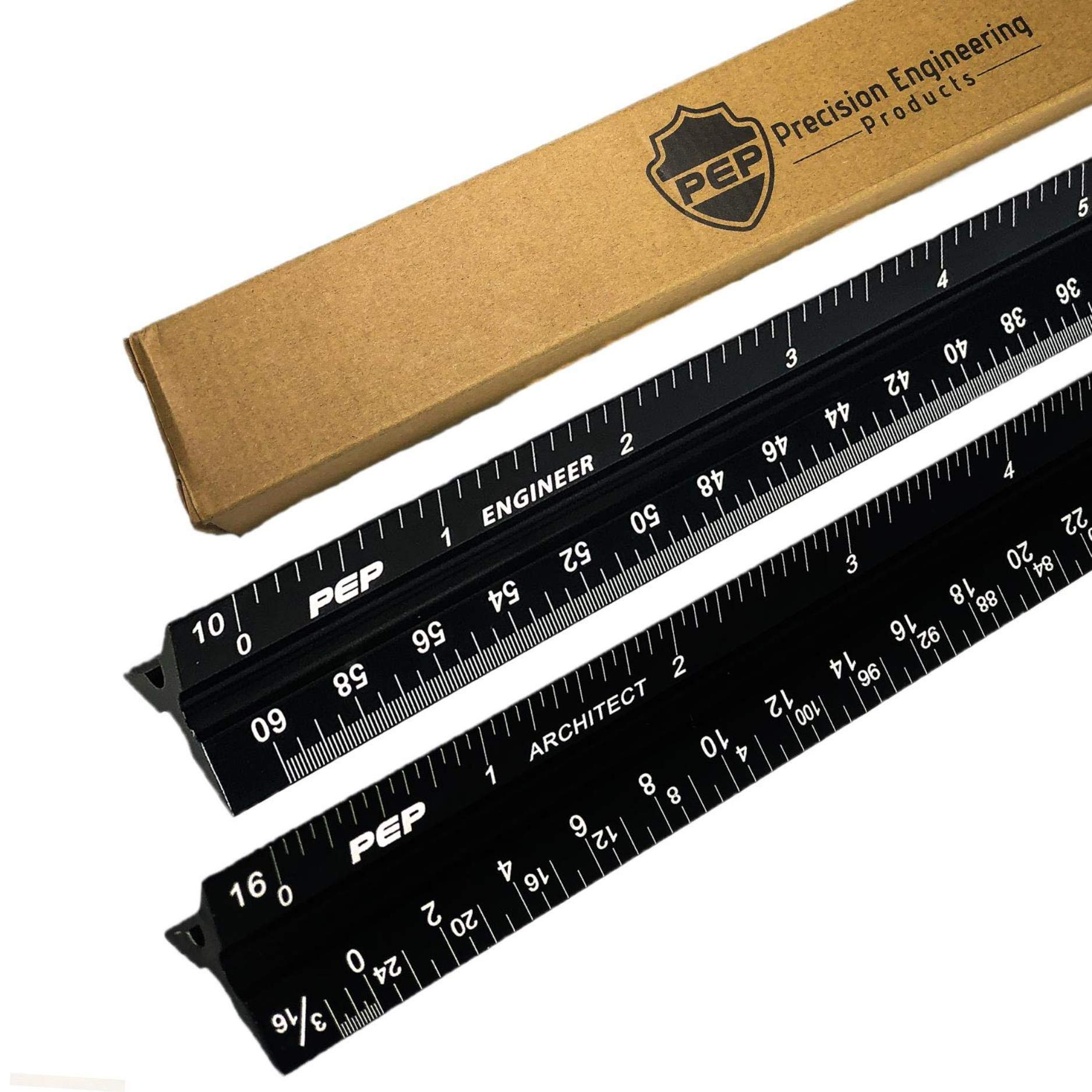 "Precision Engineering Products – 12"" Aluminum Architect Scale Ruler and Engineer Scale Ruler Set – Black Triangular Drafting Straight Edge – Imperial Triangle Scale with Laser Etched Markings by Precision Engineering Products (Image #1)"