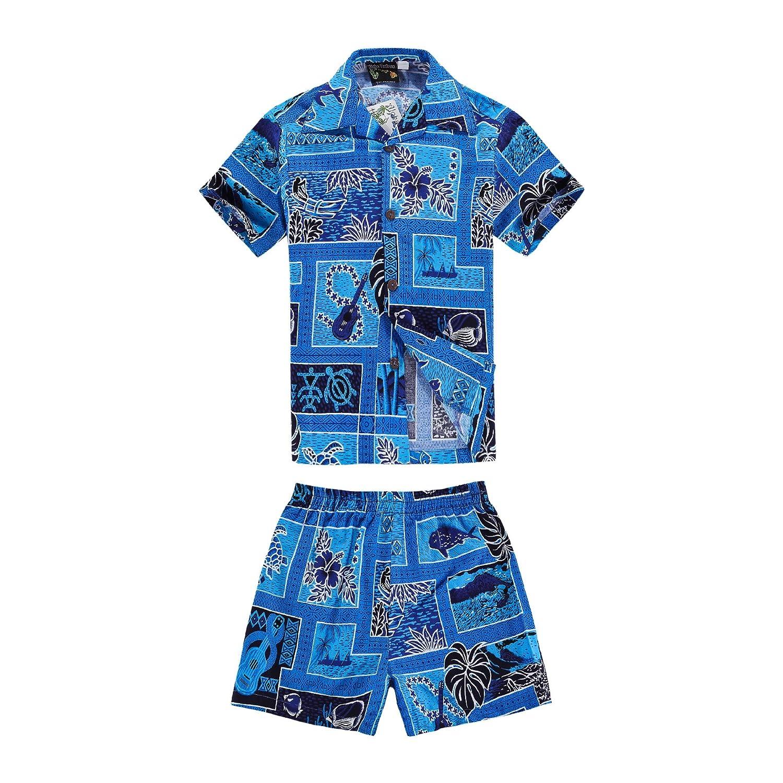 Boy Hawaiian Shirt and Shorts 2 Piece Cabana Set in Blue Classic Style with Ukulele