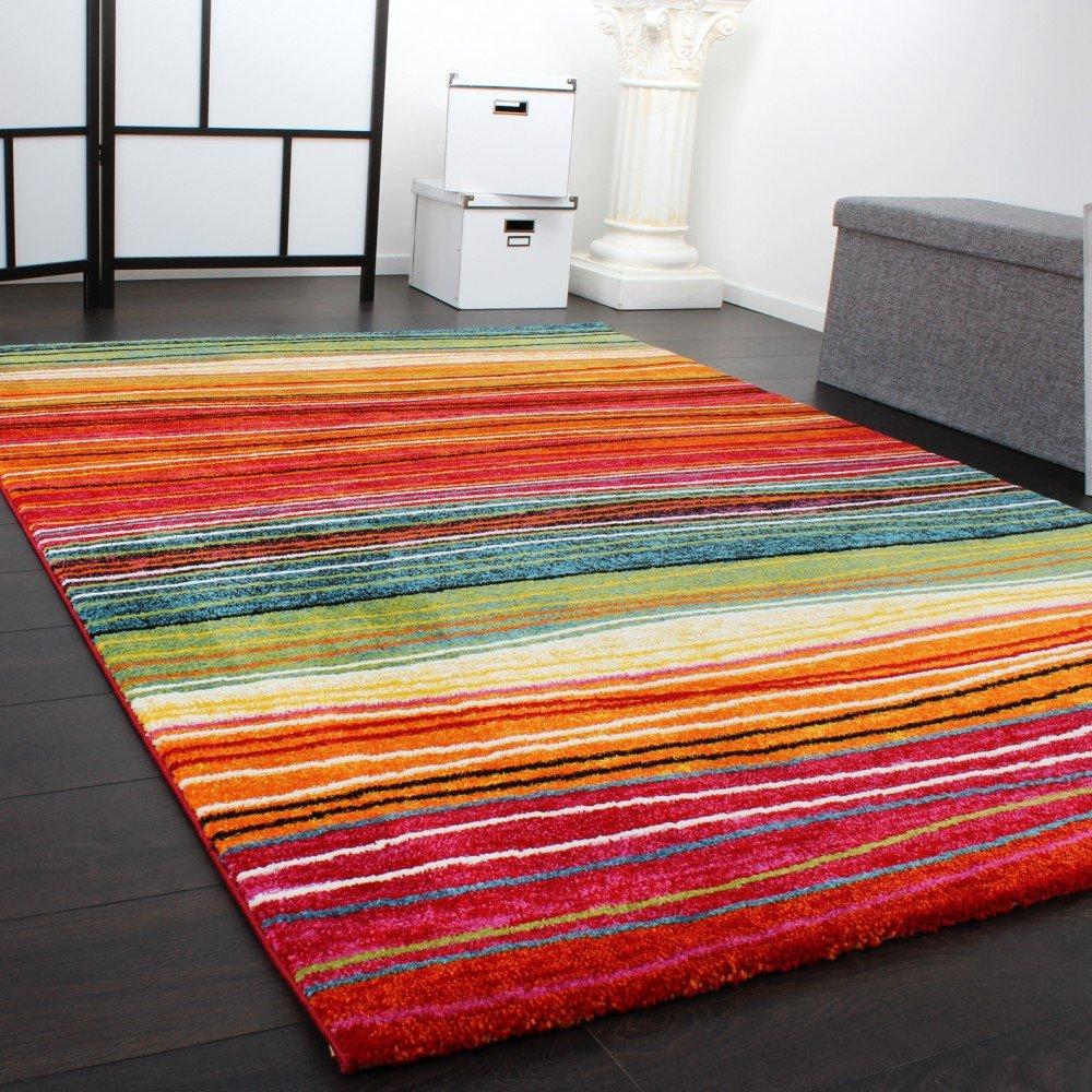 Rug Modern Designer Carpet Colourful Striped Red Green Orange  Multicoloured, Size:120x170 Cm: Amazon.co.uk: Kitchen U0026 Home