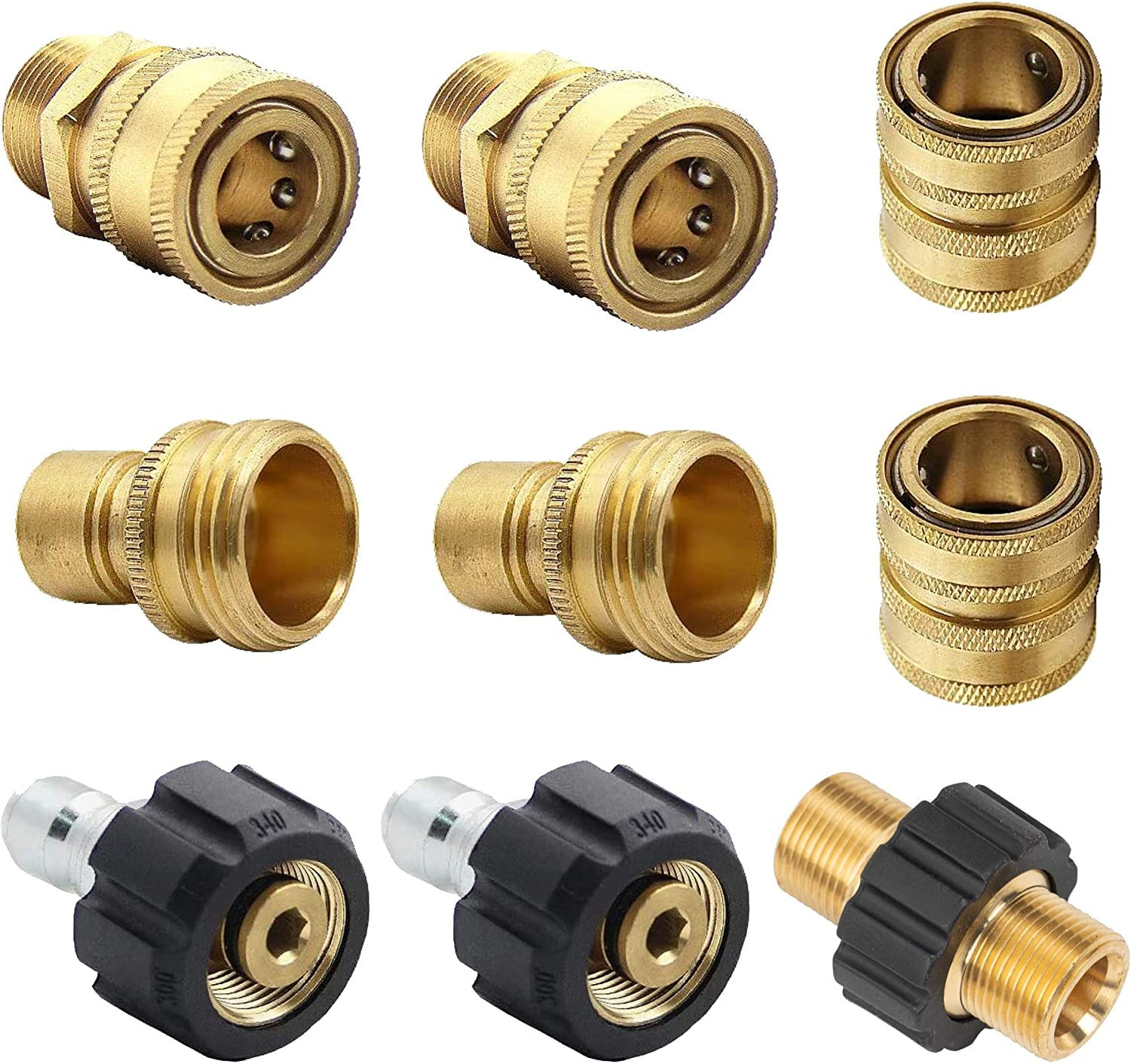Xiny Tool Pressure Washer Adapter Set, Quick Disconnect Kit with M22 Metric Male Thread Quick Connector, M22 Swivel to 3/8'' Quick Connect, 3/4
