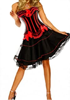 Burlesque Moulin Rouge Fancy Dress Costume Can Can Girl Dance Outfit Hat /& Glove