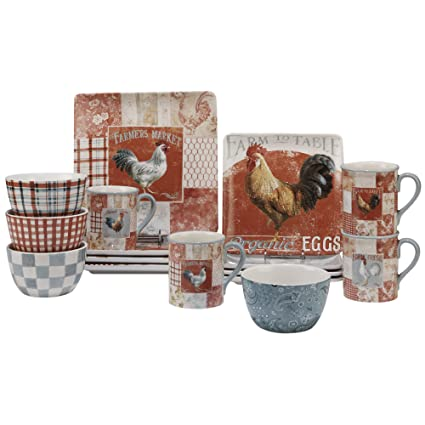 Certified International Corp 89112 Farm House Rooster Dinnerware Set Multicolor  sc 1 st  Amazon.com & Amazon.com | Certified International Corp 89112 Farm House Rooster ...