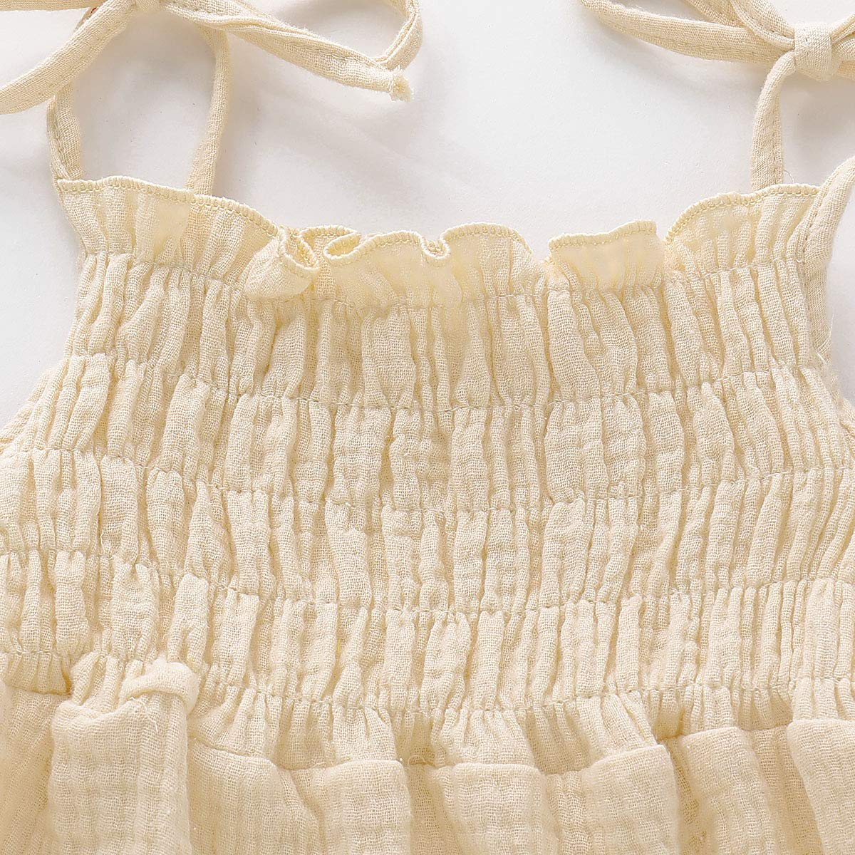 Newborn Infant Baby Girl Strap Cotton Linen Romper Sleeveless Halter Solid Color Bodysuit Outfits Summer Clothes