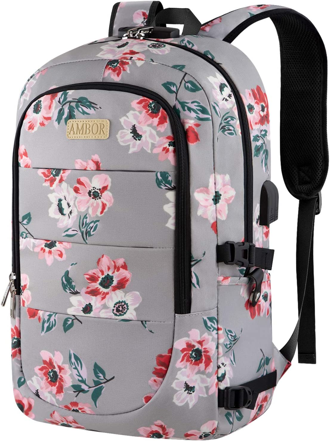 Laptop Backpack, 17.3 Inch Anti Theft Travel Business Laptop Backpack Bag with USB Port and Lock, College School Bookbag Computer Backpack Casual Daypack for Women Girls- Flower3