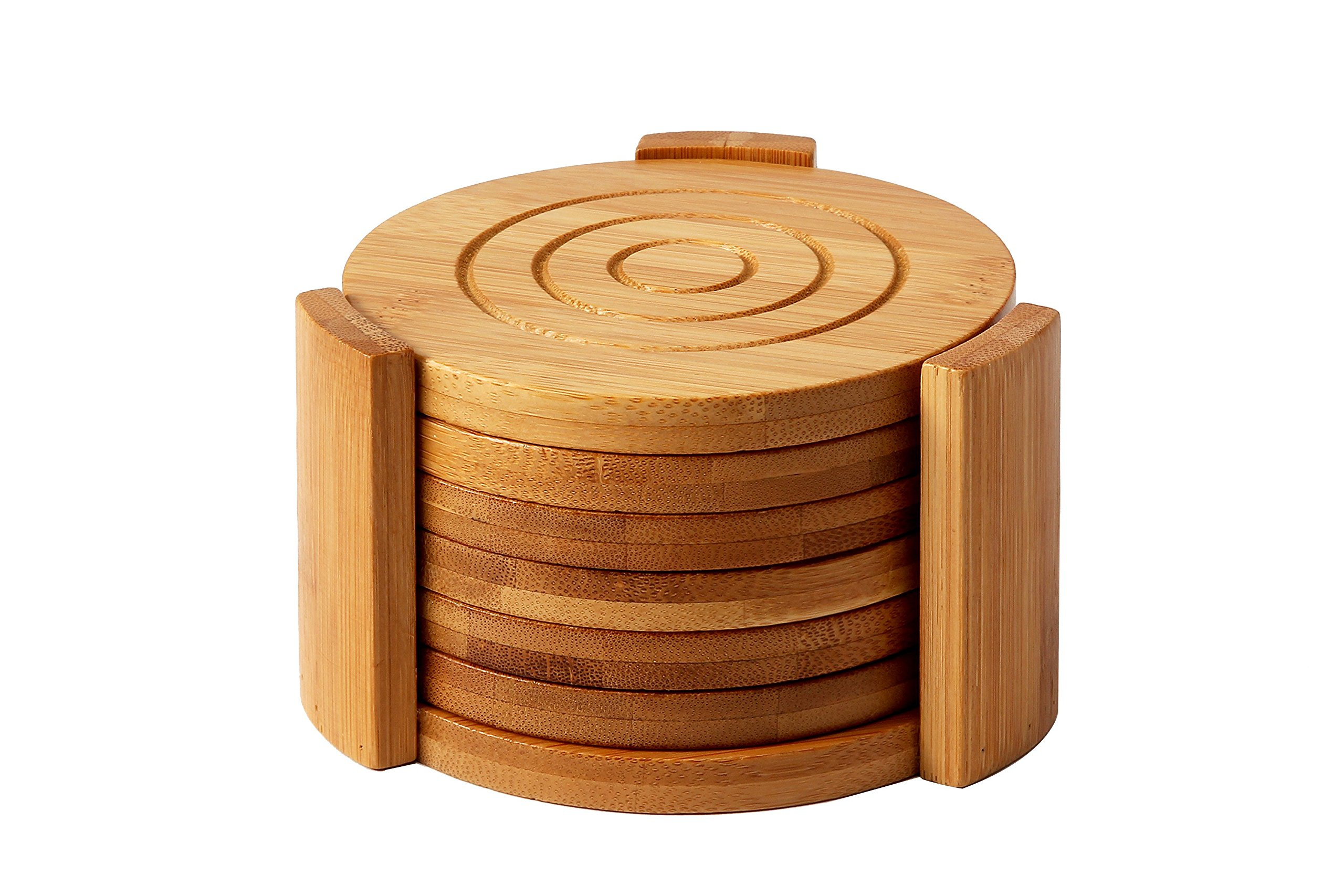 Juvale Bamboo Coasters 6-Pack Set - Absorbent Condensation Wooden Coasters Holder - Round Cup Coasters Cold Drinks Hot Beverage, Contemporary Design - Tan, 4.3 inches