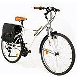 """Moma Bikes Híbrida Shimano. Aluminio, 18 Velocidades, Ruedas de 26"""", Suspensión Bicicleta, Unisex Adulto"""