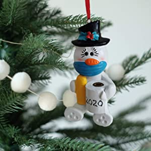 Snowman with Face Mask 2020 Christmas Ornaments Decorations, Snowman Holding Toilet Paper Christmas Ornaments for Christmas Tree Decorations, Pendant Tradition Home Decor Christmas Decorations