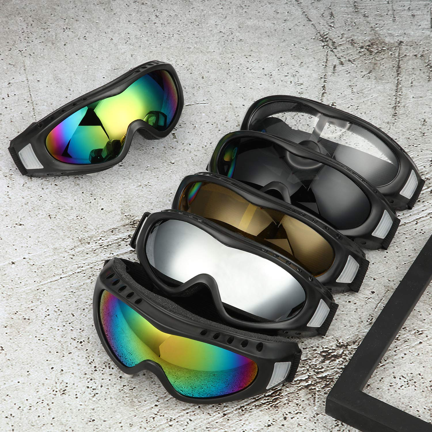 Frienda 6 Pieces Motorcycle Goggles Safety Goggles ATV Dirt Bike Off Road Racing MX Goggle Tactical Military Goggles for Men Women Kids Youth Adult