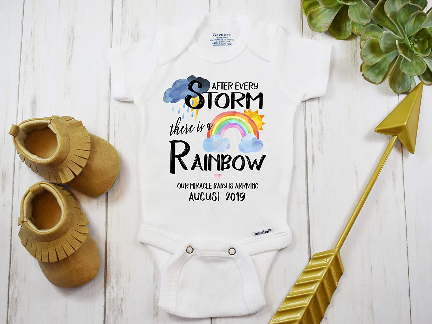 340040d45eac9 Amazon.com: Rainbow Baby Onesie® IVF Miracle Baby Personalized Custom Pregnancy  Announcement Reveal IVF Warrior After Every Storm There is a Rainbow: ...