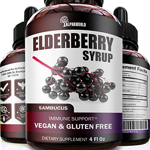 Elderberry Syrup - Immune Support with Antioxidants - Sugar-Free Black Elderberry Extract Liquid for Kids Adults - Vegan - Easy Absorption - Made in USA - 4 oz