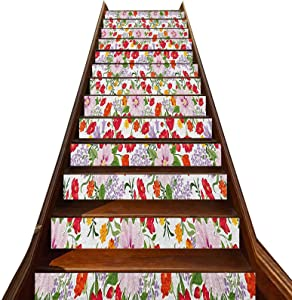 3D Watercolor Stair Stickers 13 PCS,Flourishing Nature Wildflowers Graceful Garden Carnation Lilac Summer Meadow Stair Treads Decals Removable Staircase murals,for Hotel Home Staircase Riser Decor