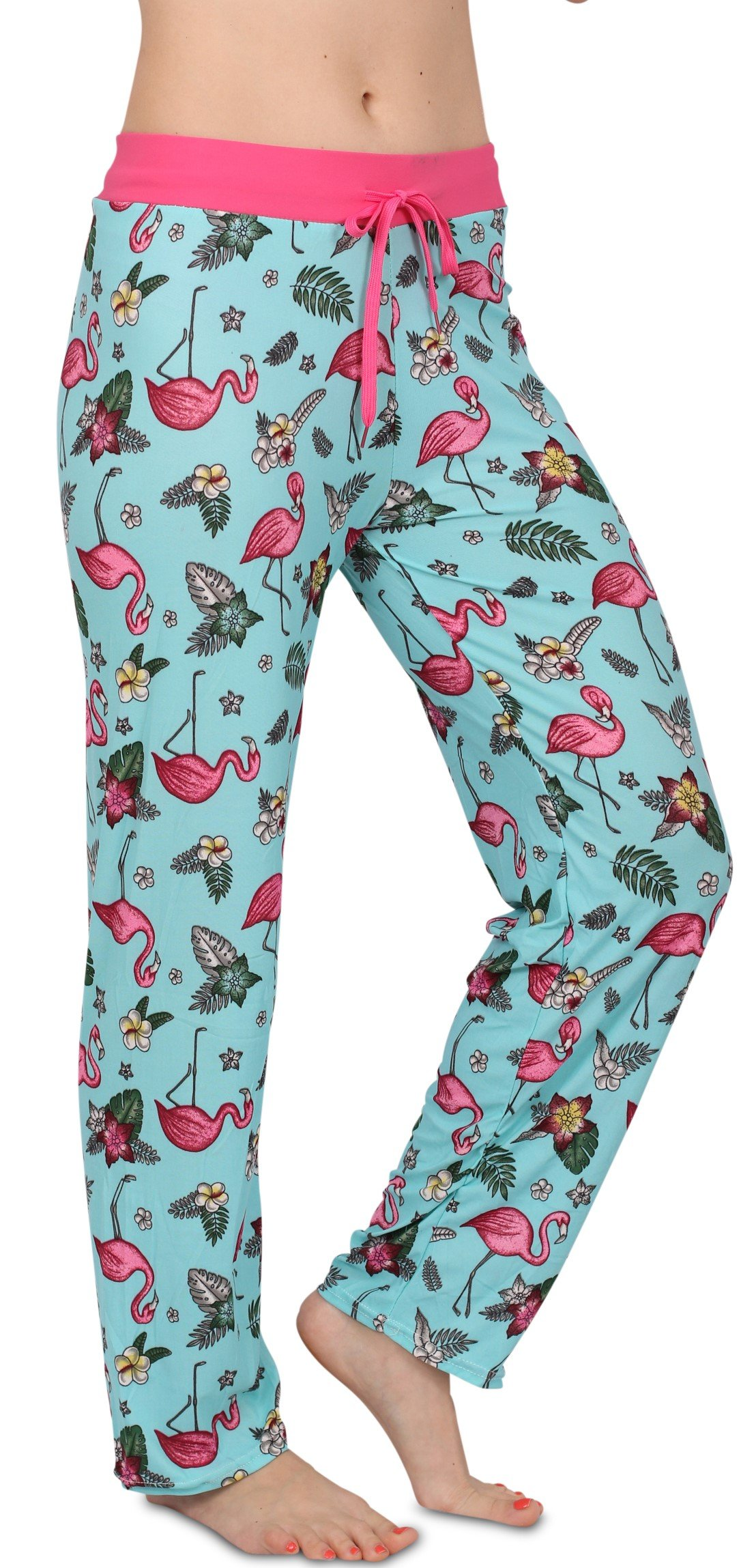Victoria Womens Pajama Lounge Pants Blue Flamingo Print, Adult Size XL