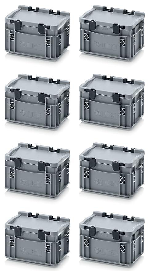 8 x Euro de cajas Euro Box 20 x 15 x 13,5 Tapa con